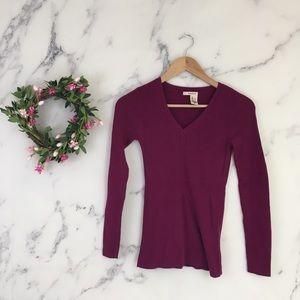DKNY Jeans Ribbed Knit V-Neck Sweater